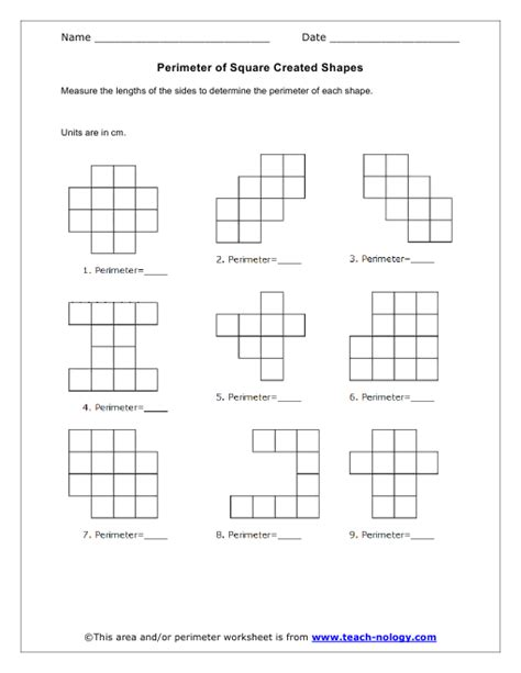 your building a perimeter of square worksheets for answer key find math area perimeter