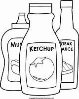Sauce Barbecue Bbq Clipart Bottles Eten Kleurplaten Template Coloring Ketchup Steak Mustard Preschool Homemade sketch template