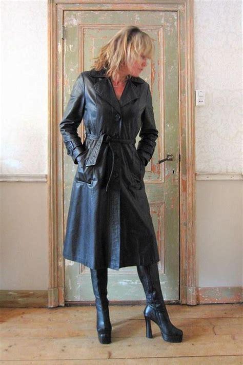 vintage  long black leather belted coat size ml