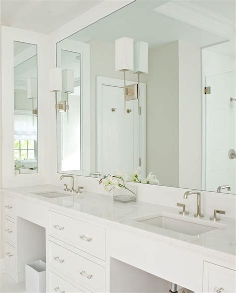 Inset Bathroom Mirror by Gray Grasscloth Wallpaper Transitional Bathroom Jcs