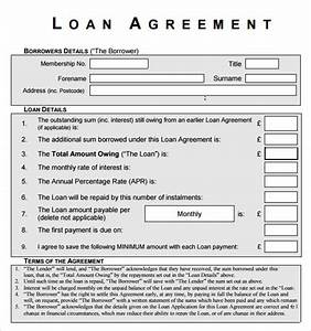 printable personal loan agreement or two parties contract With personal loan document pdf