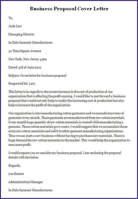sample business proposal letter template cover