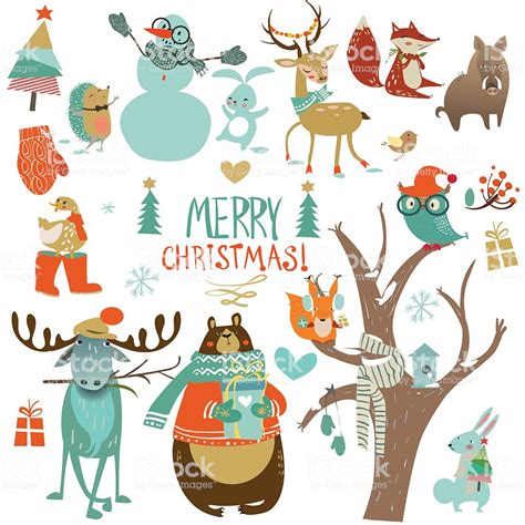 Set With Cute Winter Animals Stock Vector Art More