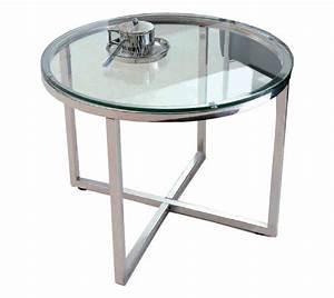 Table Basse En Verre Ronde : talulah table basse ronde en verre et pietement acier chrome ~ Teatrodelosmanantiales.com Idées de Décoration