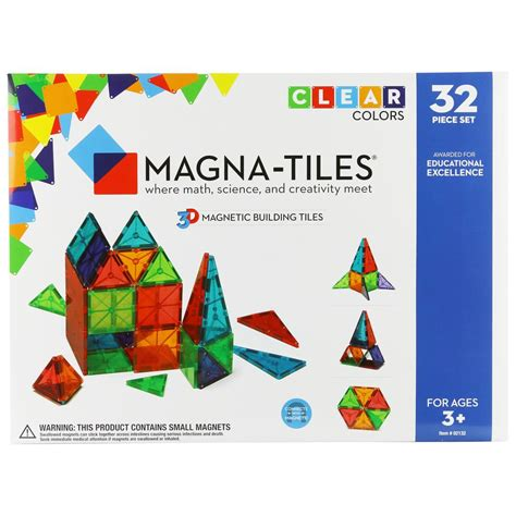 Magna Tiles Clear Colors 32 Set by Magna Tiles 174 Clear Colors 32 Building Set The