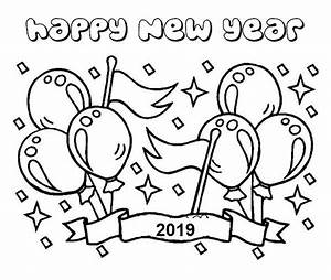 Happy New Year Party Coloring Pages 2019
