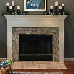 3d, Polished, Grey, Brick, Stone, Tile, Fireplace, Surround