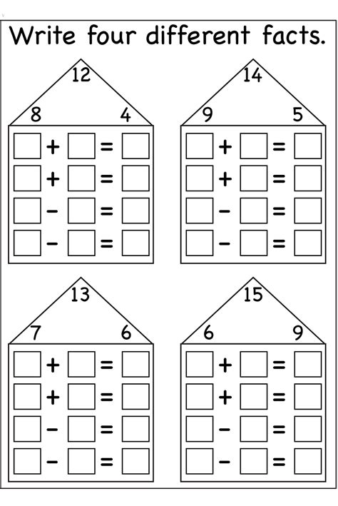fact family worksheets printable math centers and