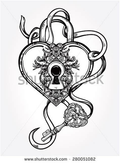 Heart Shaped Lock and Key Drawings
