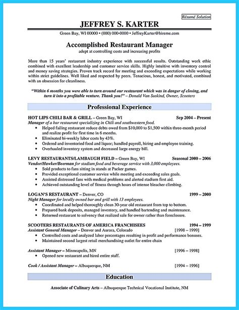 example of restaurant resume brilliant bar manager resume tips to grab the bar manager job