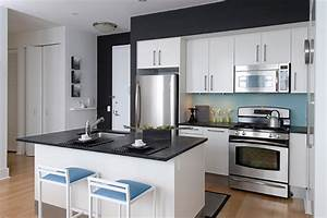 beacon one bedroom residence contemporary kitchen With best brand of paint for kitchen cabinets with wall art new york