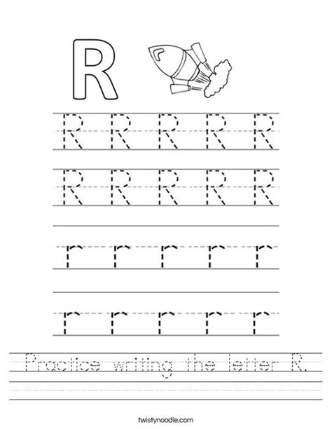 practice writing the letter r worksheet twisty noodle