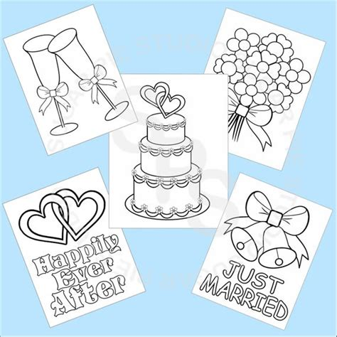 printable wedding favor kids coloring pages   jpeg file