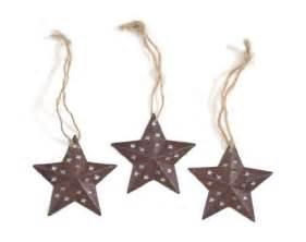 "Rustic Star Christmas Ornament 1.5"" (Set of 3)"