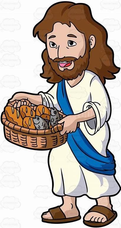 Jesus Cartoon Clipart Ikan Roti Bread Fish