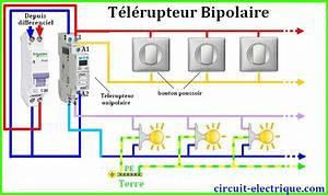 Cablage Bouton Poussoir : branchement telerupteur legrand schneider hager circuit electrique ~ Nature-et-papiers.com Idées de Décoration