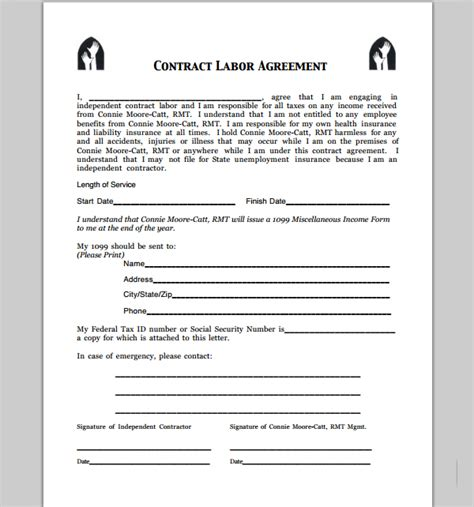 contract labor contract form contract for contract labor free printable documents