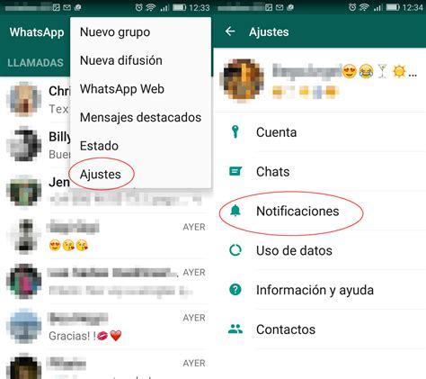 whatsapp como personalizar las notificaciones en android
