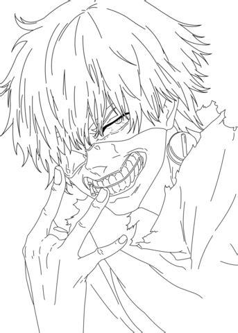 kaneki ken tokyo ghoul coloring page  printable coloring pages  kids