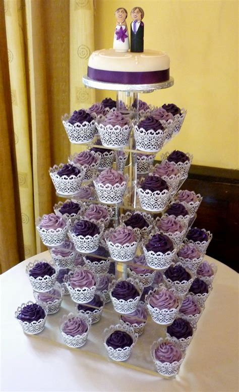 purple wedding cupcake tower    lovely purple