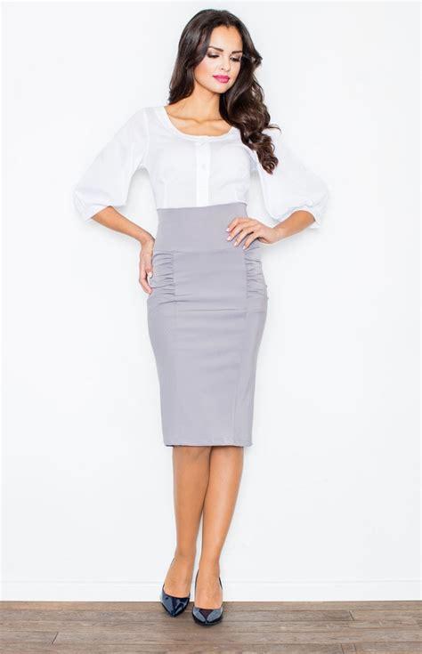jupe bureau jupe fourreau taille haute grise fl0442g idresstocode boutique de déshabillés et nuisettes