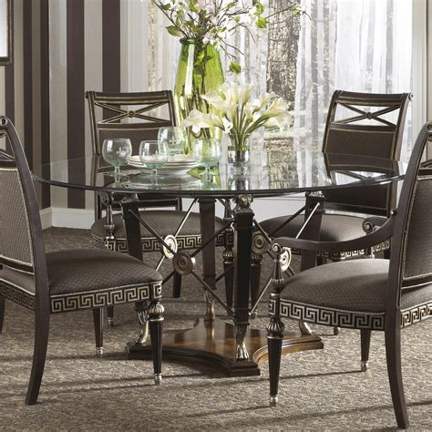 Dining  Round Glass Dining Table With Wooden Base Powder
