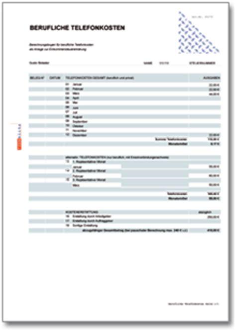 werbungskosten berufliche telefonkosten rechentabelle