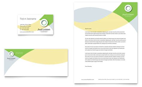 food catering business card letterhead template word