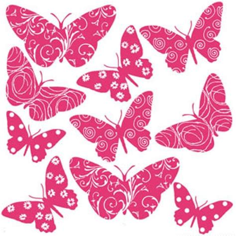 flocked butterfly wall stickers hot pink tree flowers