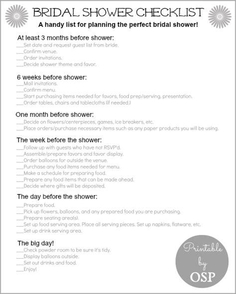 biridal shower checklist printable