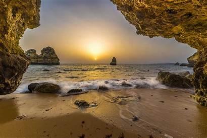 Portugal Sunrise Cave Landscape Horizon Sand Rock