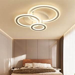 Modern Lighting Led 3 Rings Semi Flush Mount Ceiling Light