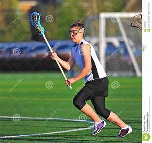Lacrosse Girl Player Running Stock Image - Image: 19969957