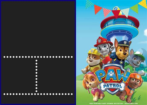 printable paw patrol baby shower invitation templates  printable baby shower