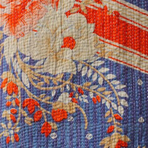 Curtains With Orange by Kantha Quilt Blue Orange Floral Kasakosa Home Decor