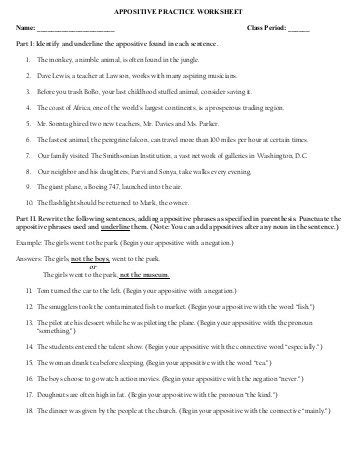 appositive phrase worksheet identify the appositive