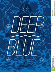 Grande Nuoto Della Balena In Manifesto Blu Profondo Dell