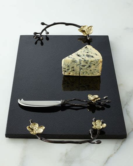 michael aram gold orchid cheese board knife