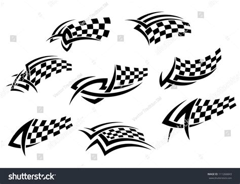 checkered flags tribal style tattoo sports stock vector
