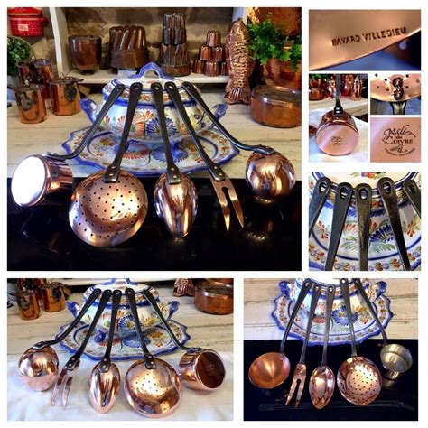 pc set havard villedieu atelier iron french copper utensil ladle skimmer spoon ebay copper