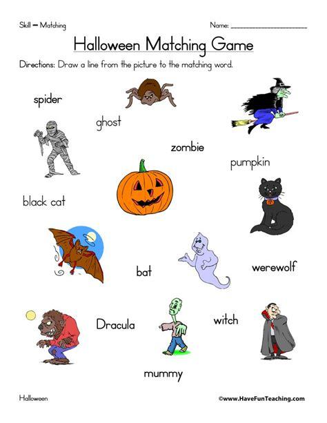 halloween matching worksheet  fun teaching