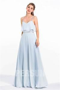 Robe Bleu Demoiselle D Honneur : maxi robe demoiselles d 39 honneur bleu s r nit volants avec bretelles ~ Dallasstarsshop.com Idées de Décoration