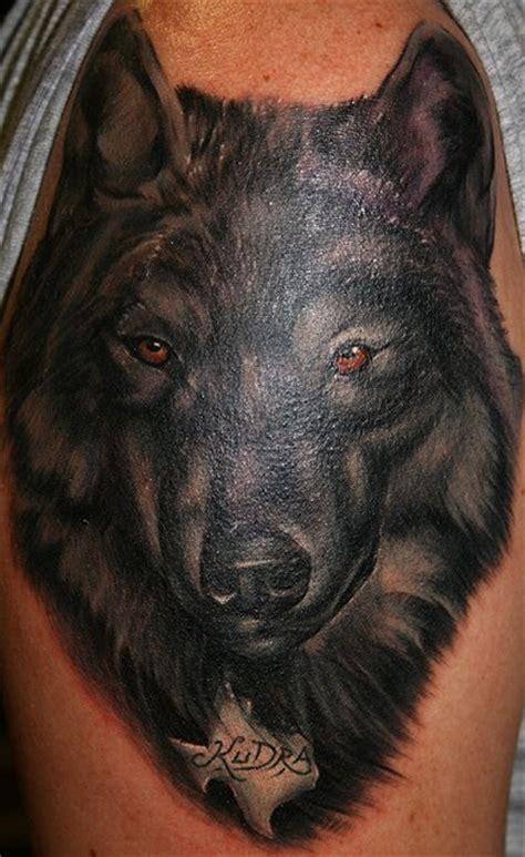 black wolf tattoo   shoulder tattooimagesbiz