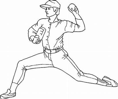 Baseball Coloring Pitcher Pages Mlb Throwing Player