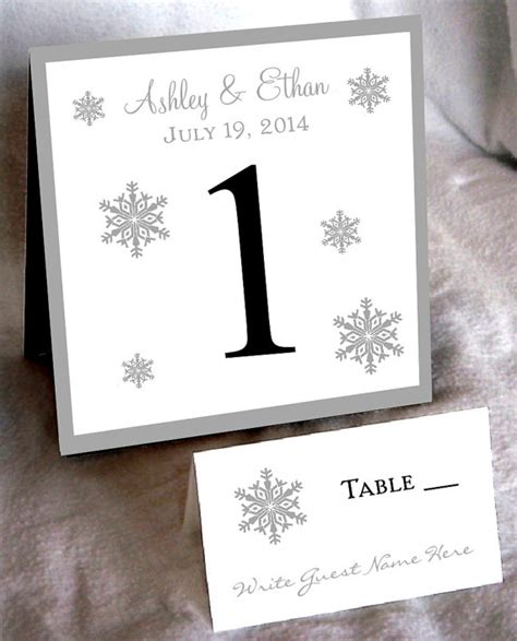table number place cards i m dreaming of a white wedding with every snowflake name