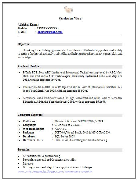 resume title for fresh graduate of ece