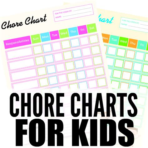 free printable chore charts for coupon closet