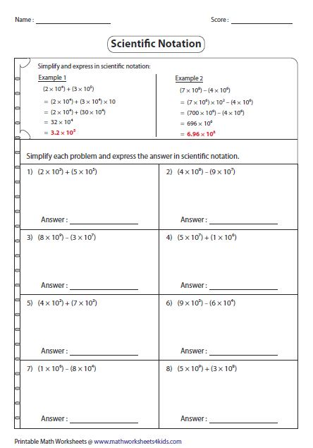 add and subtract scientific notation worksheet