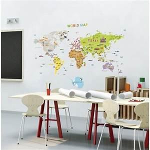 Carte Du Monde Sticker : sticker carte du monde geante pour enfants pas cher stickers enfants discount stickers ~ Dode.kayakingforconservation.com Idées de Décoration