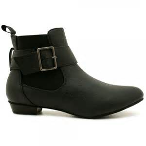 womens ankle boots flat uk womens black leather style buckle flat chelsea ankle boots from spylovebuy uk